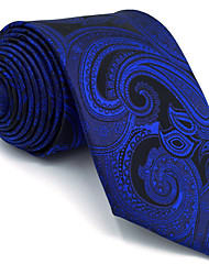 B7 Men's Necktie Tie Blue Paisley 100% Silk Business Fashion Wedding For Men