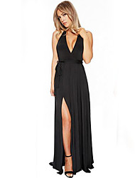 Women's Sexy Halter Neck Deep V Long Dress Backless Drawstring Maxi Evening Party Dress