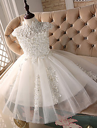 Princess Knee-length Flower Girl Dress - Lace High Neck with Beading Lace