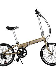 Vélo pliant Cyclisme 7 Vitesse 20 pouces 50mm Enfants unisexe Frein en V Ordinaire Pliage Pliage SOLOMO en alliage d'aluminium Doré