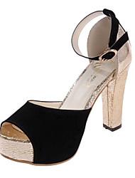 Women's Sandals Summer Comfort PU Casual Stiletto Heel Satin Flower Blue Rose Pink Walking