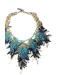 Necklace Rhinestone Statement Necklaces Jewelry Party Daily Casual Pendant Tassel Euramerican Fashion Alloy Glass Women 1pc GiftLight