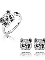Jewelry 1 Pair of Earrings Rings Crystal Party Alloy 1set Women White Wedding Gifts