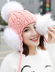 Fashion Winter Big Hair Ball Little Plus Cashmere Head Cap Wool Hat Outdoor Ear Protection Knit Hat