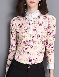 Fashion Long Sleeves Flower Printing Female Chiffon Shirt Wild Daily Leisure Home Get Together T-shirt