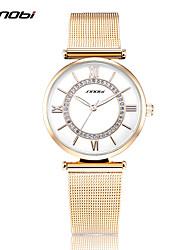 SINOBI Mulheres Relógio de Moda Quartzo Impermeável Resistente ao Choque Aço Inoxidável Banda Pendente Luxuoso DouradaBranco Amarelo