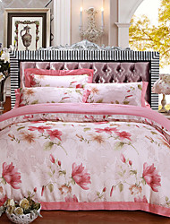 Floral Duvet Cover Sets 4 Piece Cotton Pattern Reactive Print Cotton Queen King 1pc Duvet Cover 2pcs Shams 1pc Flat Sheet