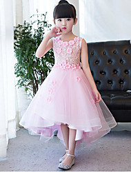 A-line Ankle-length Flower Girl Dress - Organza Jewel with Flower(s)