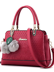M.Plus Women's Fashion Faux Fur Splicing PU Leather Messenger Shoulder Bag/Handbag Tote