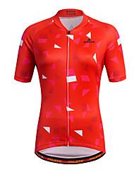 Sports Cycling Jersey Women's Short Sleeve BikeBreathable Quick Dry Moisture Permeability Front Zipper Reflective Strips Sweat-wicking