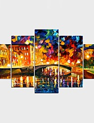 Framed Art Print Abstract Landscape Modern Classic,Five Panels Canvas Any Shape Print Wall Decor For Home Decoration