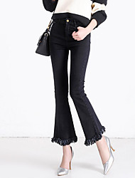 Women's Tassel|Wide Leg Plus Size Bootcut Jeans Pants,Casual/Daily Street chic Solid Tassel Mid Rise Button Cotton Micro-elastic All Seasons
