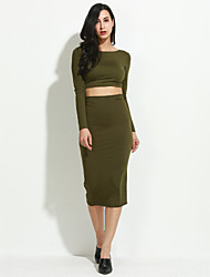 Women's Lace up Formal / Party/Cocktail Sexy Spring / Fall T-shirt Skirt Suits,Solid Round Neck Long Sleeve Green Cotton / Polyester Medium