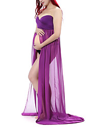 Women's Maternity Split Front Sheer Chiffon Gown Maxi Bridesmaid Dress for Photos Shoot