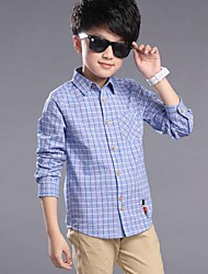 Boy Casual/Daily Plaid Shirt,Cotton Spring Long Sleeve