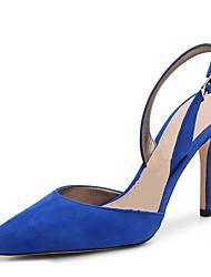 Mujer-Tacón StilettoZuecos y pantuflas-Oficina y Trabajo Fiesta y Noche Vestido Informal-Vellón-Negro Azul