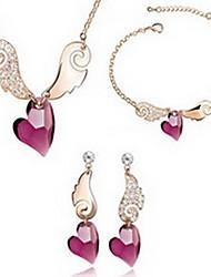 Бижутерия 1 ожерелье 1 пара сережек 1 браслет Кристалл Для вечеринок Сплав 1 комплект Женский Золотой Красный Синий серыйСвадебные