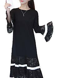 Women's Going out Casual/Daily Work Vintage Street chic Sophisticated Loose Dress,Patchwork Round Neck Midi Long Sleeve Flare Sleeve