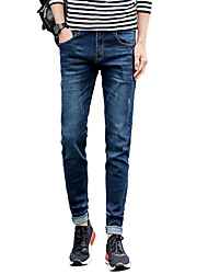 Men's Plus Size Slim Skinny Jeans Pants,Casual/Daily Club Vintage Simple Street chic Solid Low Rise Zipper Button Cotton Micro-elastic