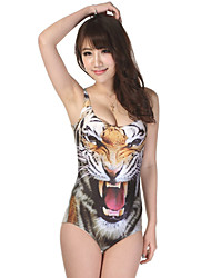 nova mulheres tigre impressão digital beachwear banho uma peça