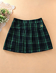 Women's Pencil Houndstooth Pleated Skirts,Casual/Daily Mid Rise Above Knee Elasticity Cotton Micro-elastic Fall