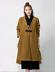 Damen Druck Einfach Street Schick Ausgehen Mantel,Herbst Winter V-Ausschnitt Langarm Auf Links waschen Trocknen Standard Polyester