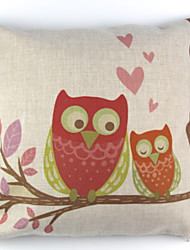 RayLineDo® Linen Cotton Square Throw Pillow Cover Owl Lover Decorative Pillow Case CTJZ21-PC-ORL