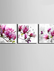 E-HOME® Full of Brightly Colored Flowers Clock in Canvas 3pcs