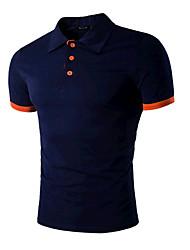 Мужчины На выход Спорт Лето Polo Рубашечный воротник,Простое Активный Контрастных цветов Синий Красный Черный Серый С короткими рукавами,