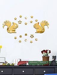 Животные Зеркала Мода Наклейки Простые наклейки Зеркальные стикеры Декоративные наклейки на стены,Стекло материал Украшение домаНаклейка