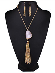 Europe and the United States sell natural original Shi Zijing powder crystal pendant alloy tassel necklaces earrings set # 0125