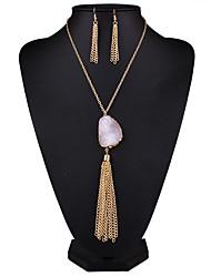 Бижутерия 1 ожерелье 1 пара сережек Кристалл Повседневные Сплав 1 комплект Женский серый Яркий розовый Свадебные подарки