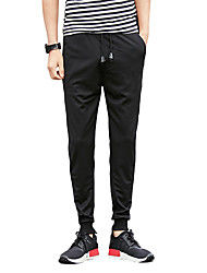 Men's Plus Size Slim Skinny Chinos Sweatpants Pants,Casual/Daily Vintage Simple Street chic Solid Low Rise Drawstring Cotton Micro-elastic