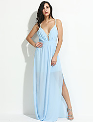 Women's Party/Cocktail Sexy Swing DressSolid V Neck Maxi Sleeveless  All Seasons High Rise Micro-elastic Medium