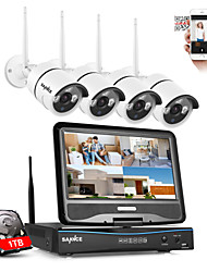 SANNCE 2.4G 10.1 LCD 4CH HD 720P Wireless NVR Wifi 1500TVL In/Outdoor IR CUT ip cameras Home Security Camera System with 1tb