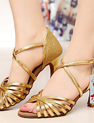 Customizable Women's Dance Shoes Latin Leatherette/Sparkling Glitter Customized Heel Silver/Gold