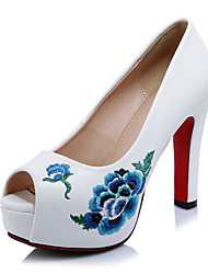 Women's Heels Spring Summer Fall Club Shoes Microfibre Wedding Office & Career Dress Chunky Heel Flower Black Red White