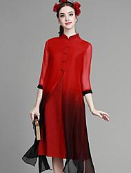 Feminino Evasê Vestido, Formal Férias Temática Asiática Sólido Colarinho Chinês Acima do Joelho Manga ¾ Azul Rosa VermelhoSeda Algodão