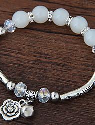 Women's Charm Bracelet Crystal Resin Alloy Fashion Flower Silver Dark Blue Red Blue Pink Jewelry 1pc