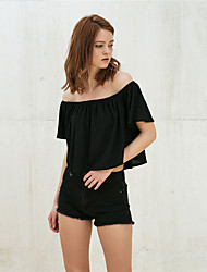 Women's Going out Holiday Sexy Summer Blouse,Solid Boat Neck Sleeveless Black Polyester Medium