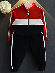 Unisex Casual/Daily Sports School Solid Sets,Cotton Spring Fall Clothing Set