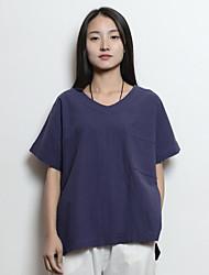 sign # 2017 Primavera novas mulheres de grande porte soltos cor sólida para fazer o t-shirt literária bolso v-pescoço de algodão de idade