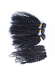 "10""-26"" Brazilian Virgin Hair Kinky Curly Human Hair Weft With Lace Closure Color Natural Black Baby Hair"