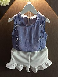 Girl Casual/Daily Patchwork Sets,Cotton Summer Sleeveless Clothing Set