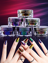 1 Box 0.5g Chameleon Flakes Nail Powder Bling Nail Flecks Powder Dust Shimmer Nail Art Glitter Dust Galaxy Decorations