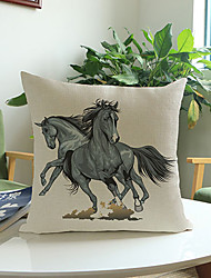 1 pcs Two black horses printing Linen Pillow Case Animal Print Modern/Contemporary