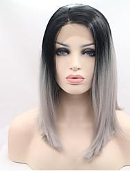 colore grigio moda parrucche anteriori onda pizzo sintetico ombre quotidiano popolare parrucca anteriore del merletto sintetico di alta