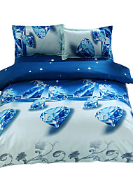 Mingjie 3D Reactive Print Blue Diamond Bedding Sets 4 Pcs for Queen Size Contain 1 Duvet Cover 1 Bedsheet 2 Pillowcases from China