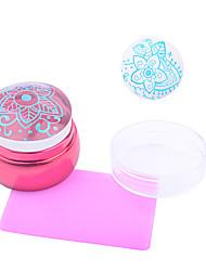 1pc nail art les nouvelles pièces de métal rouge transparent l'impression de joint racleur rose