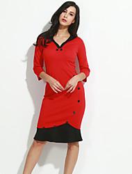 Women's Ruffle Vintage Deep V Dress,Cotton Blends Knee-length ¾ Sleeve